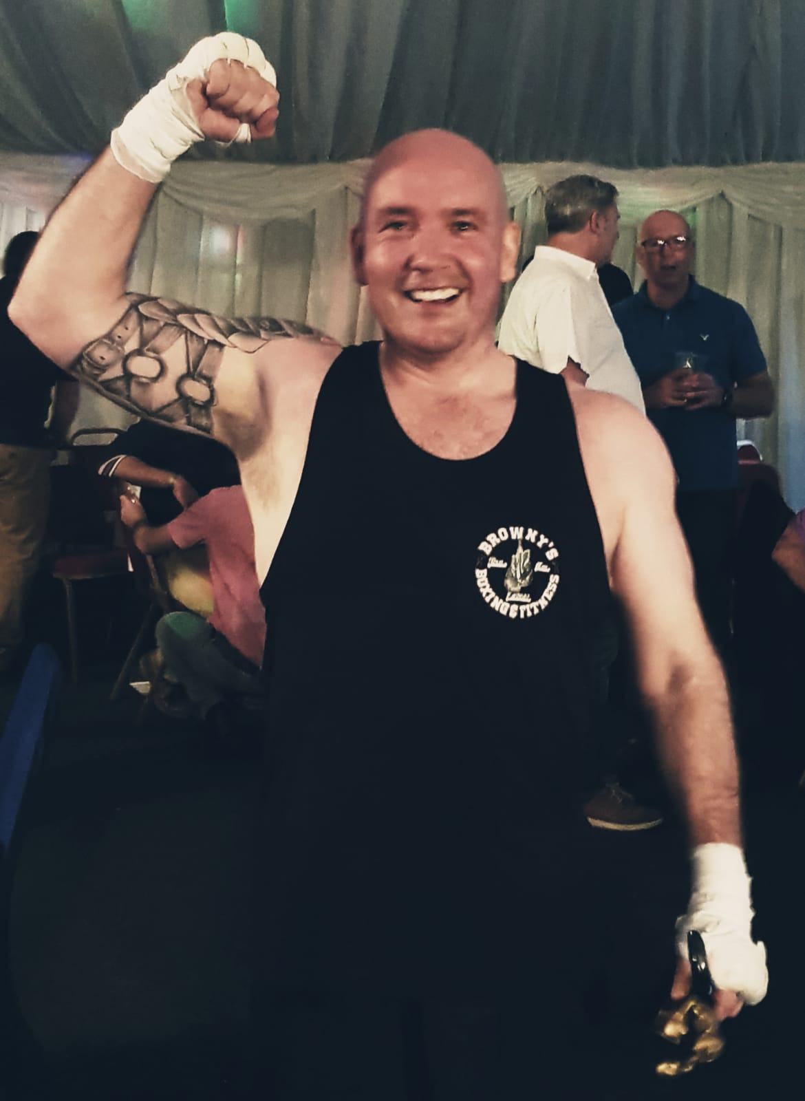 Father has taken on a trained cage fighter in support of St Barnabas and won