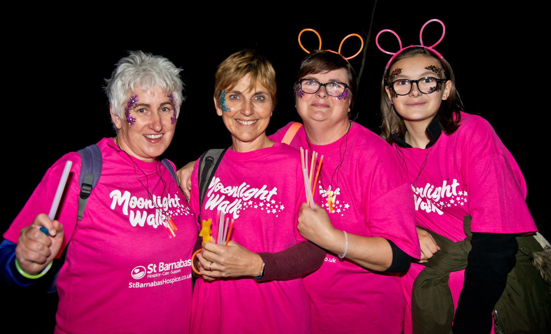 Cheryl and nurses at the Moonlight Walk